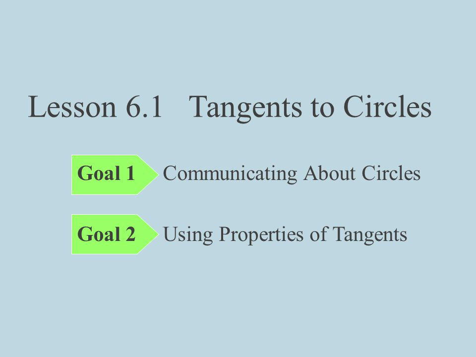 Lesson 6.1 Tangents to Circles