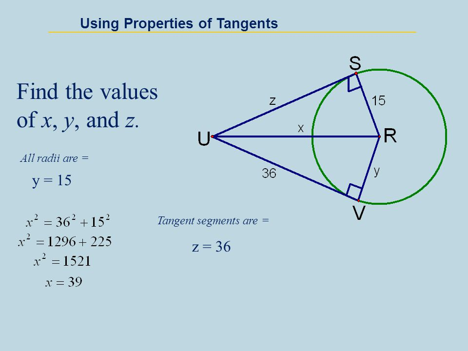 Find the values of x, y, and z.