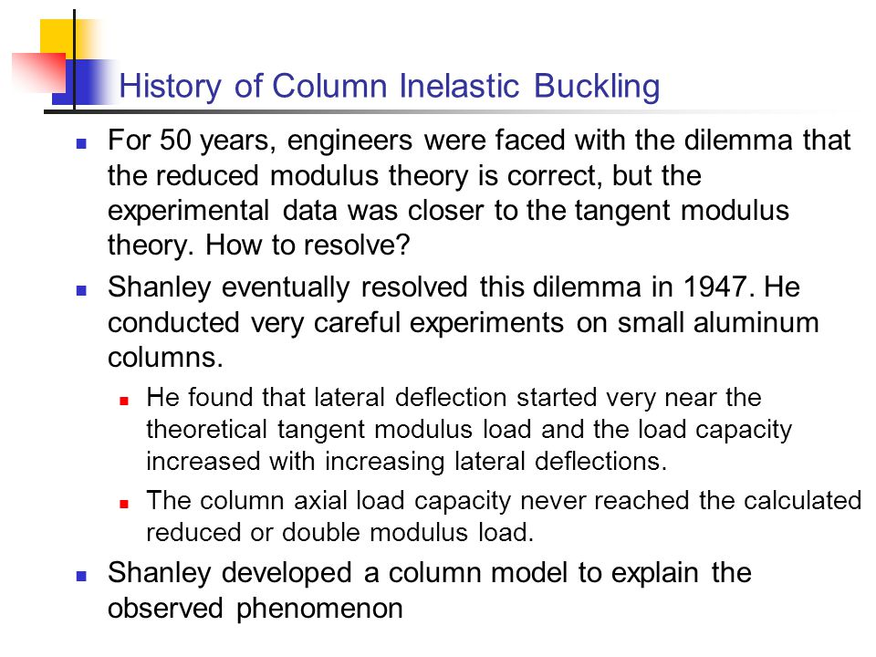 History of Column Inelastic Buckling