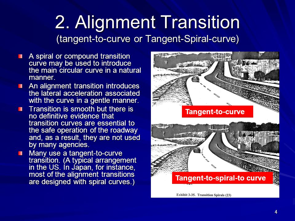 2. Alignment Transition (tangent-to-curve or Tangent-Spiral-curve)