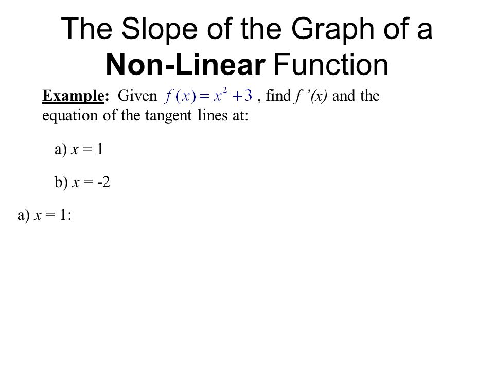 The Slope of the Graph of a Non-Linear Function