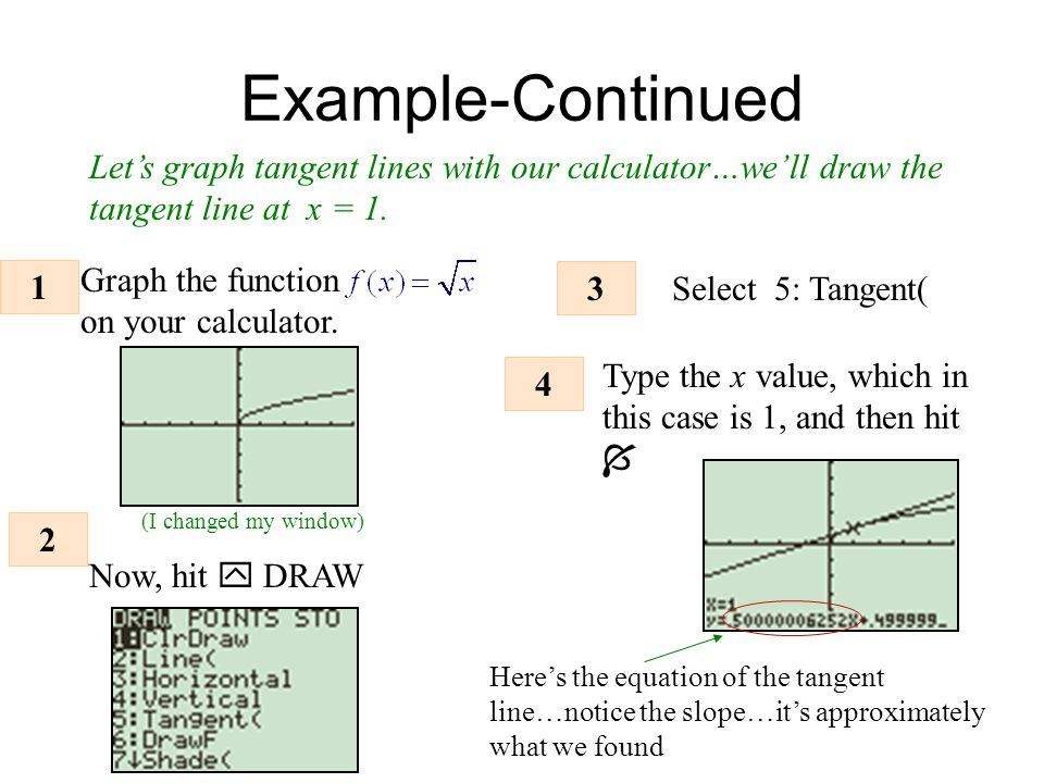 Example-Continued Let's graph tangent lines with our calculator…we'll draw the tangent line at x = 1.