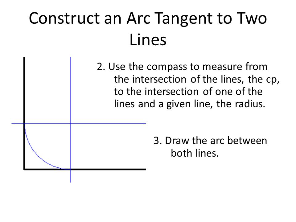 Construct an Arc Tangent to Two Lines