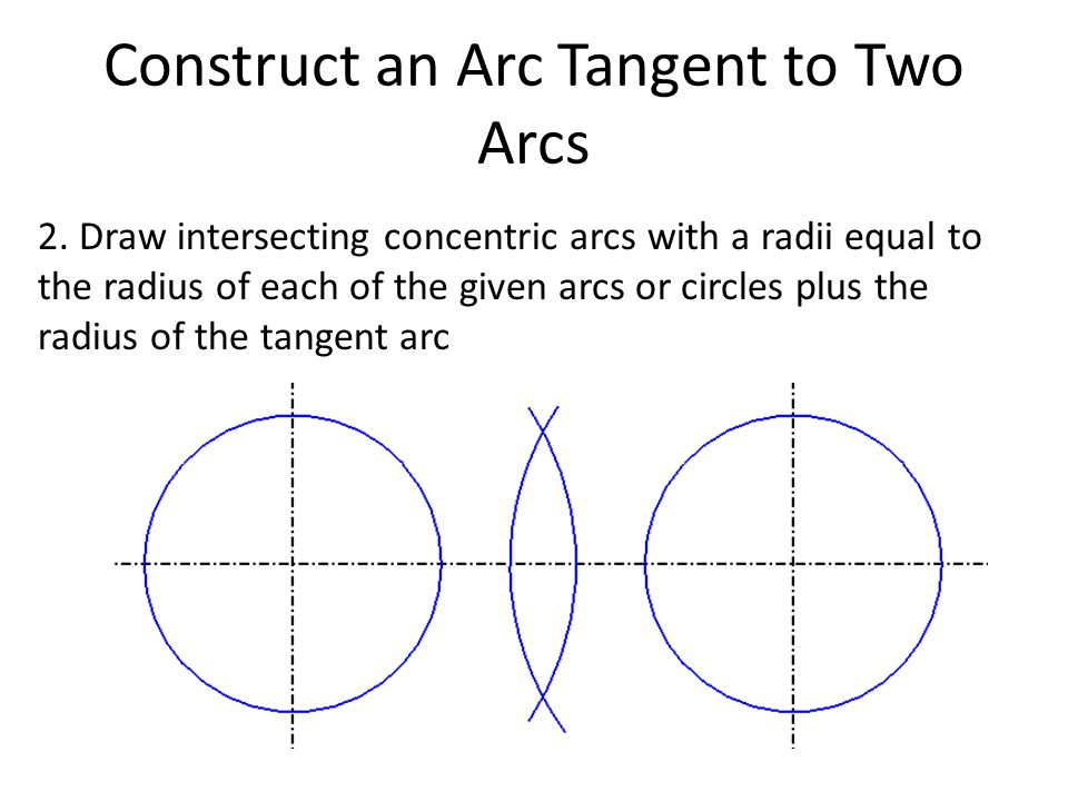 Construct an Arc Tangent to Two Arcs