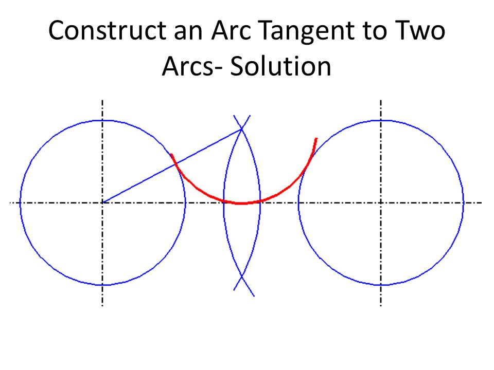 Construct an Arc Tangent to Two Arcs- Solution