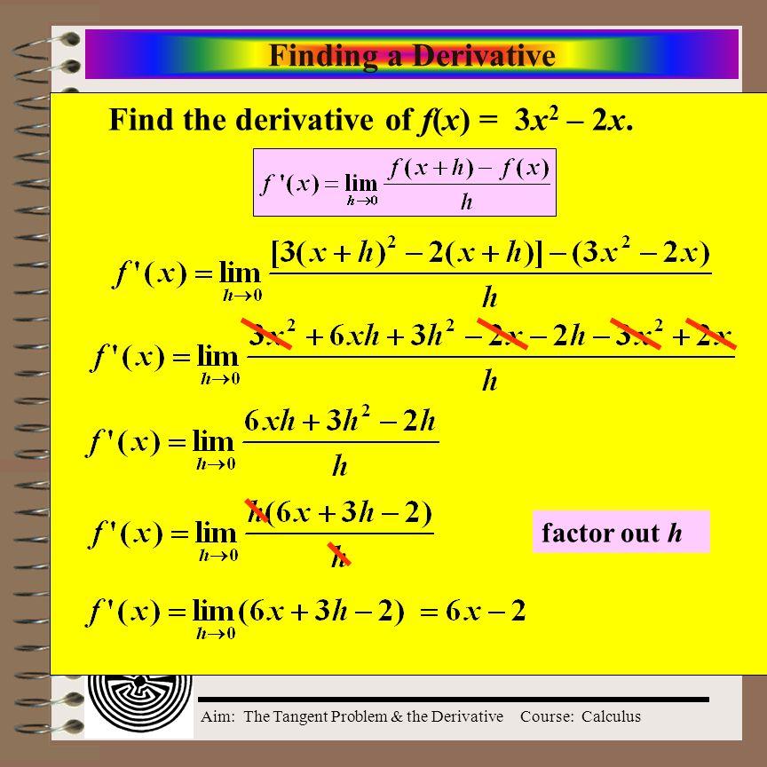 Find the derivative of f(x) = 3x2 – 2x.