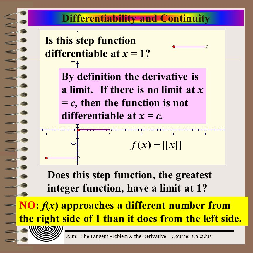 Differentiability and Continuity