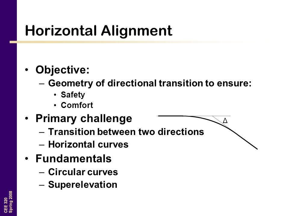 Horizontal Alignment Objective: Primary challenge Fundamentals