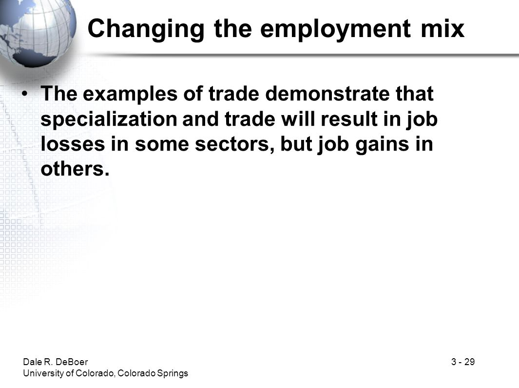 Changing the employment mix