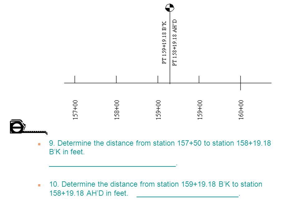 9. Determine the distance from station 157+50 to station 158+19