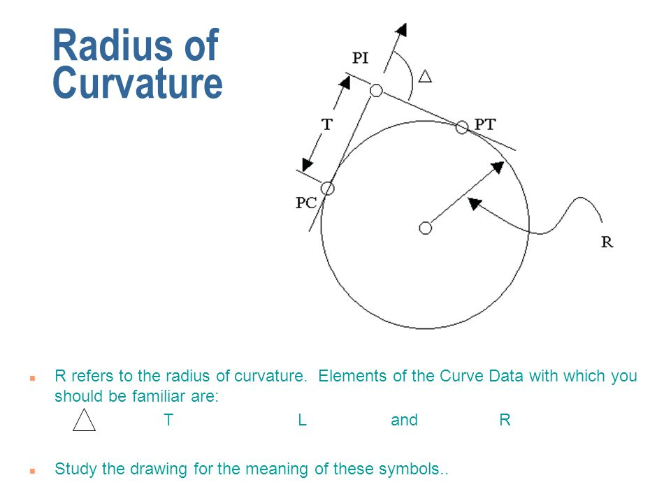 Radius of Curvature R refers to the radius of curvature. Elements of the Curve Data with which you should be familiar are: