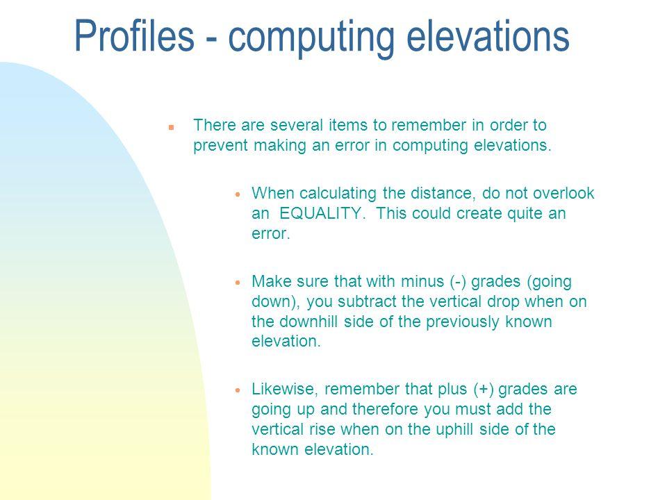 Profiles - computing elevations