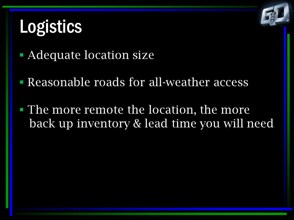 Logistics Adequate location size
