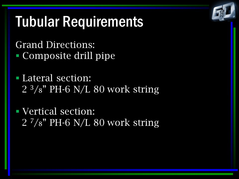 Tubular Requirements Grand Directions: Composite drill pipe