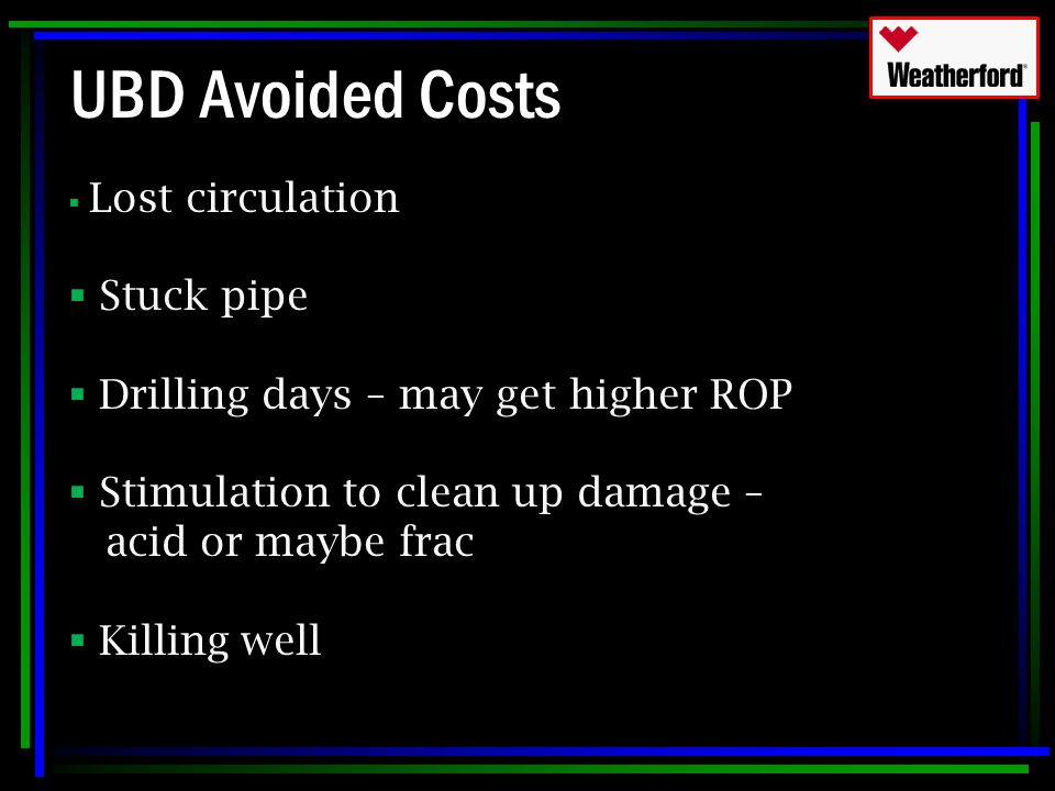 UBD Avoided Costs Stuck pipe Drilling days – may get higher ROP