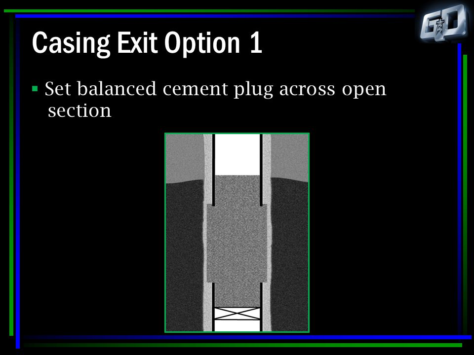 Casing Exit Option 1 Set balanced cement plug across open section