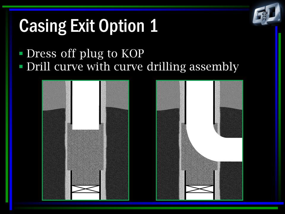 Casing Exit Option 1 Dress off plug to KOP