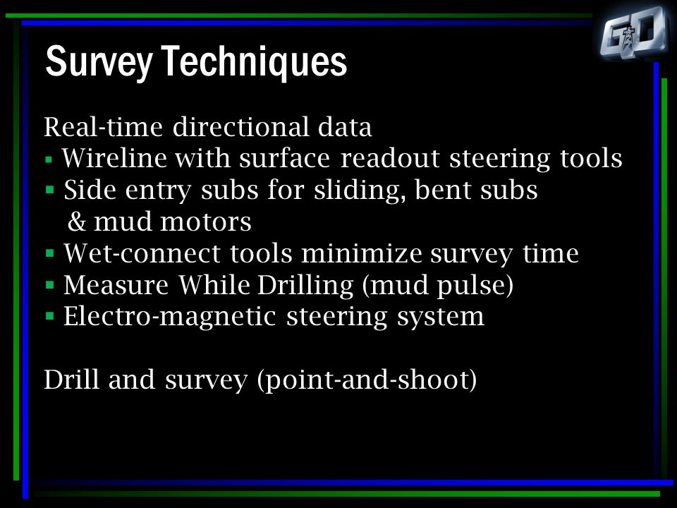 Survey Techniques Real-time directional data