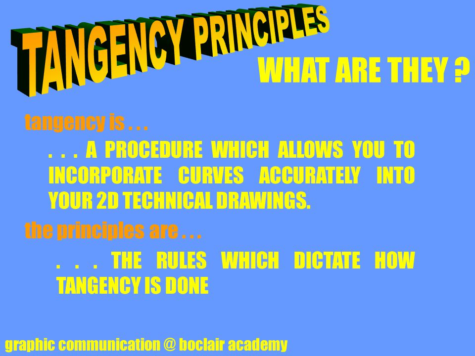 TANGENCY PRINCIPLES WHAT ARE THEY tangency is . . .