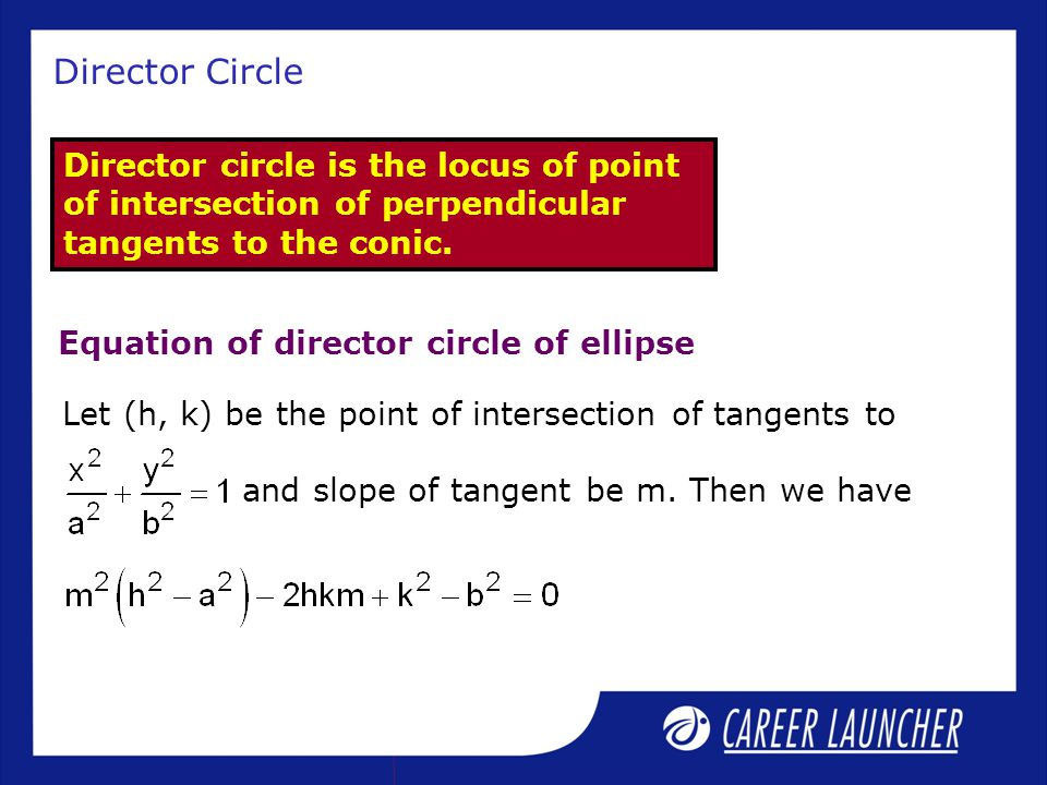 Director Circle Director circle is the locus of point of intersection of perpendicular tangents to the conic.