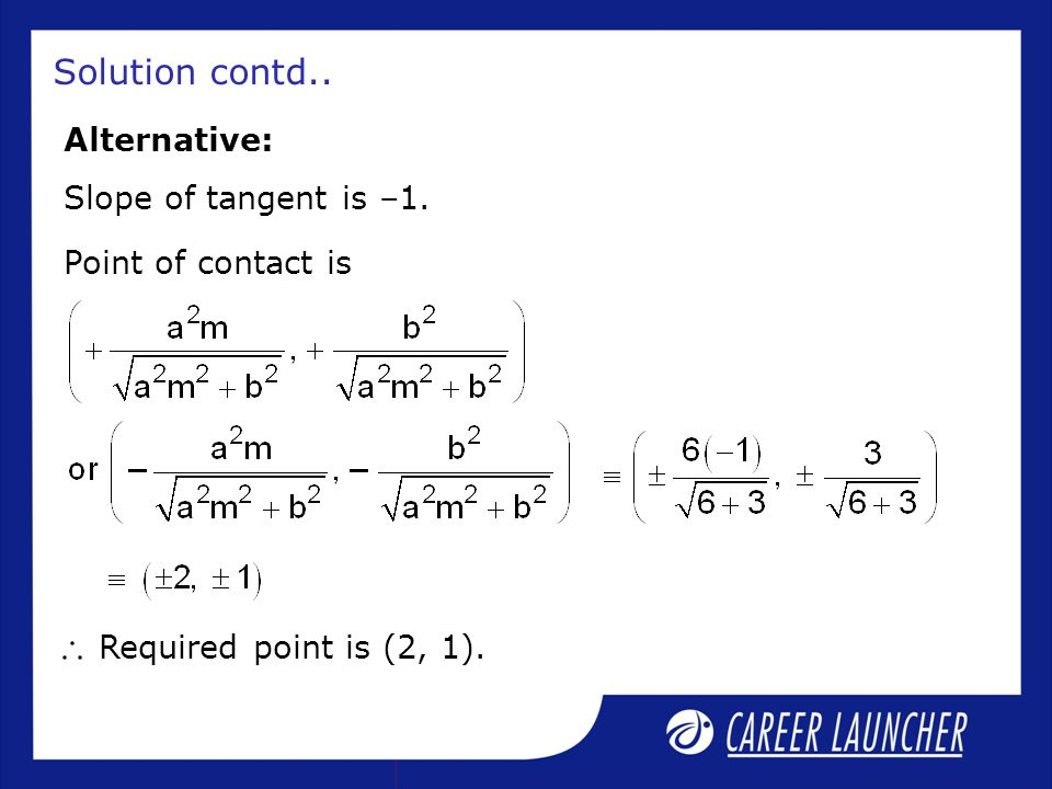 Solution contd.. Alternative: Slope of tangent is –1.