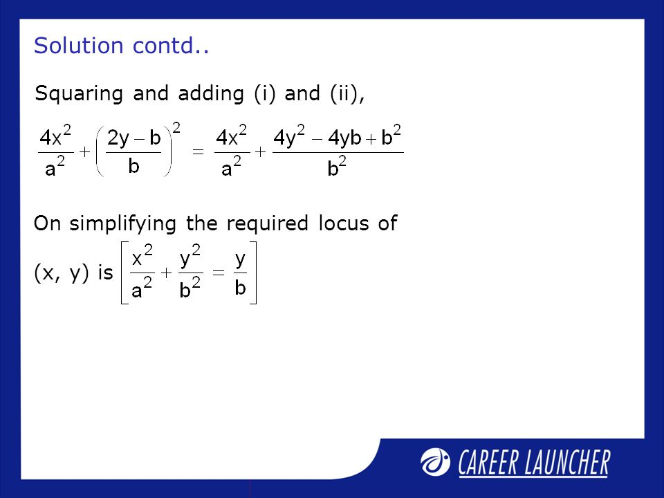Solution contd.. Squaring and adding (i) and (ii),