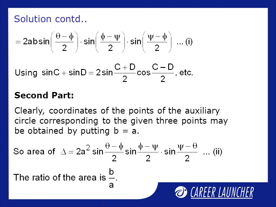 Solution contd.. Using Second Part: