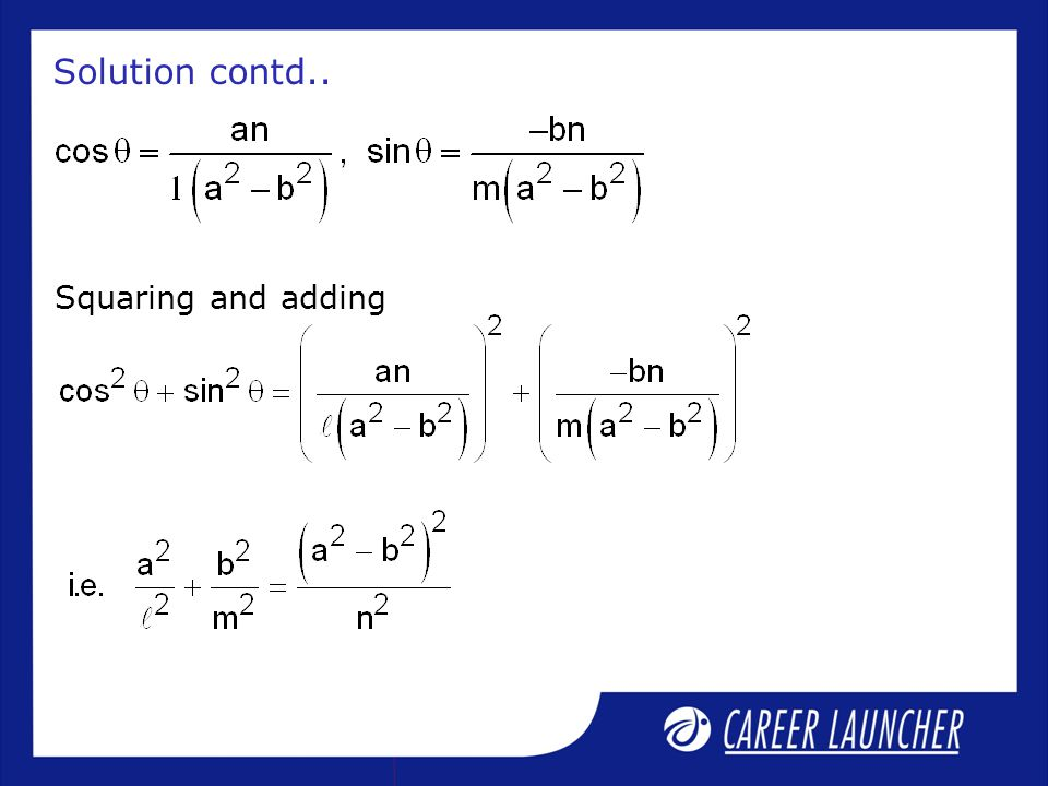 Solution contd.. Squaring and adding