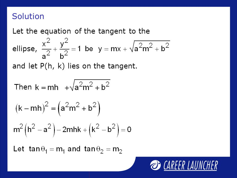 Solution Let the equation of the tangent to the ellipse, and let P(h, k) lies on the tangent.