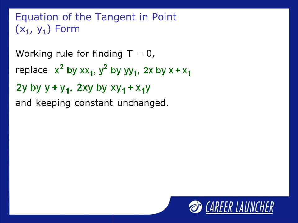 Equation of the Tangent in Point (x1, y1) Form