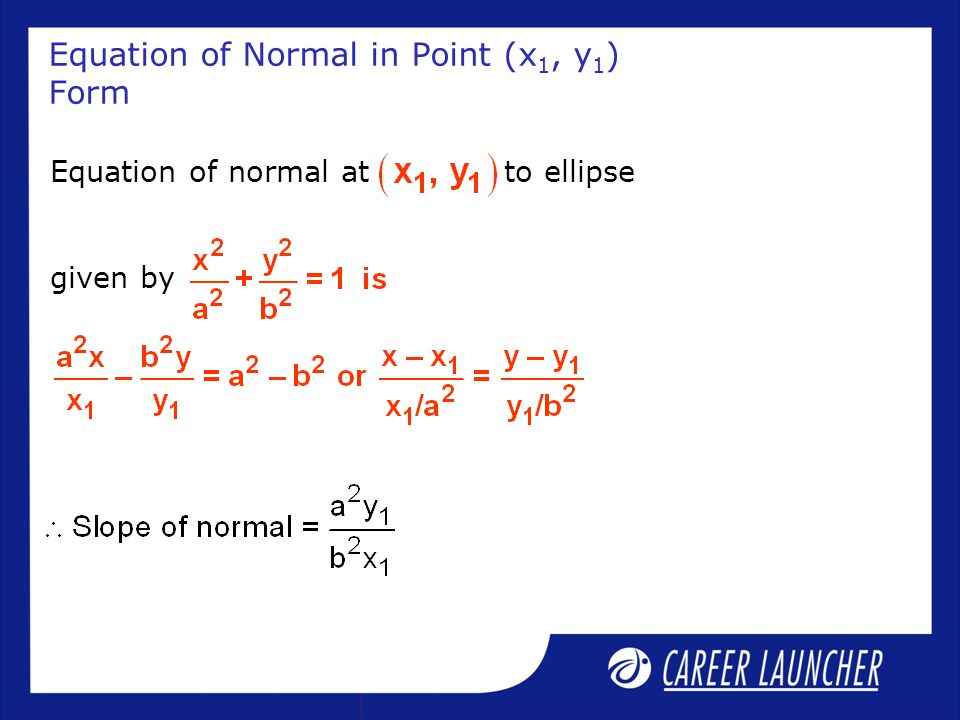 Equation of Normal in Point (x1, y1) Form