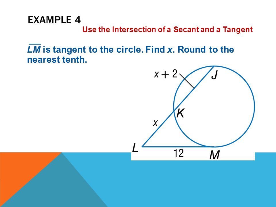 Example 4 Use the Intersection of a Secant and a Tangent.