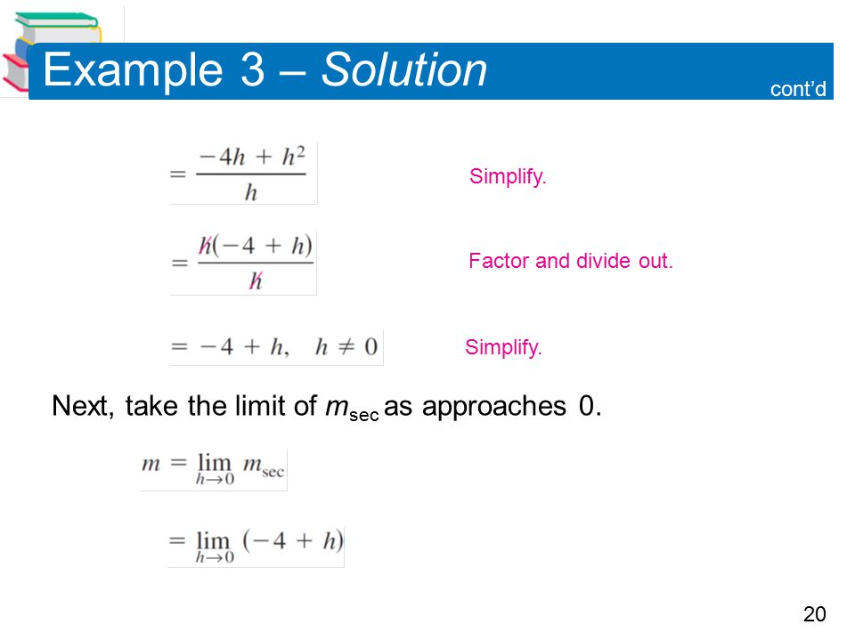 Example 3 – Solution Next, take the limit of msec as approaches 0.