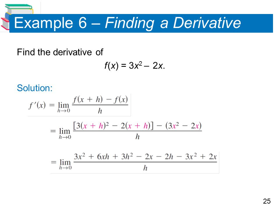 Example 6 – Finding a Derivative