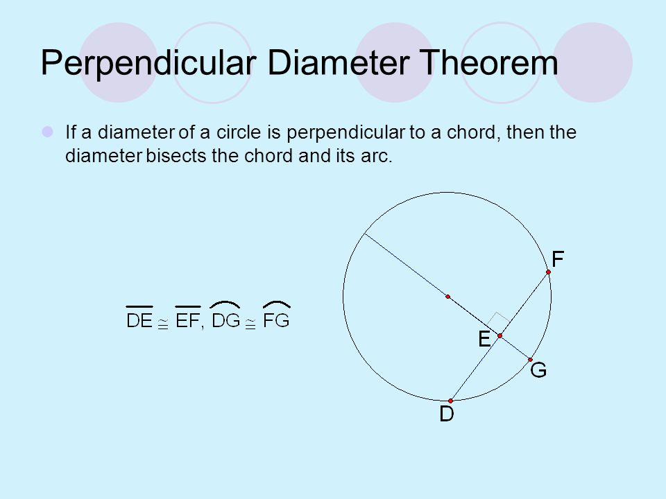 Perpendicular Diameter Theorem