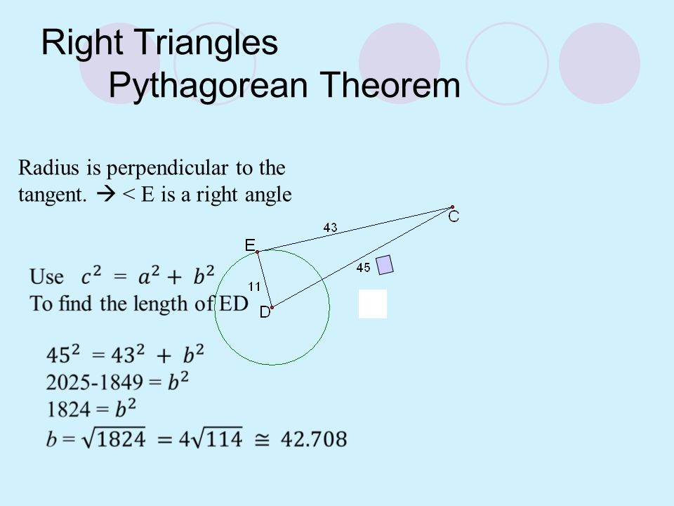 Right Triangles Pythagorean Theorem