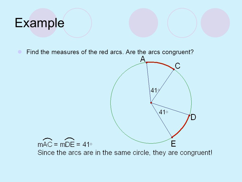 Example Find the measures of the red arcs. Are the arcs congruent