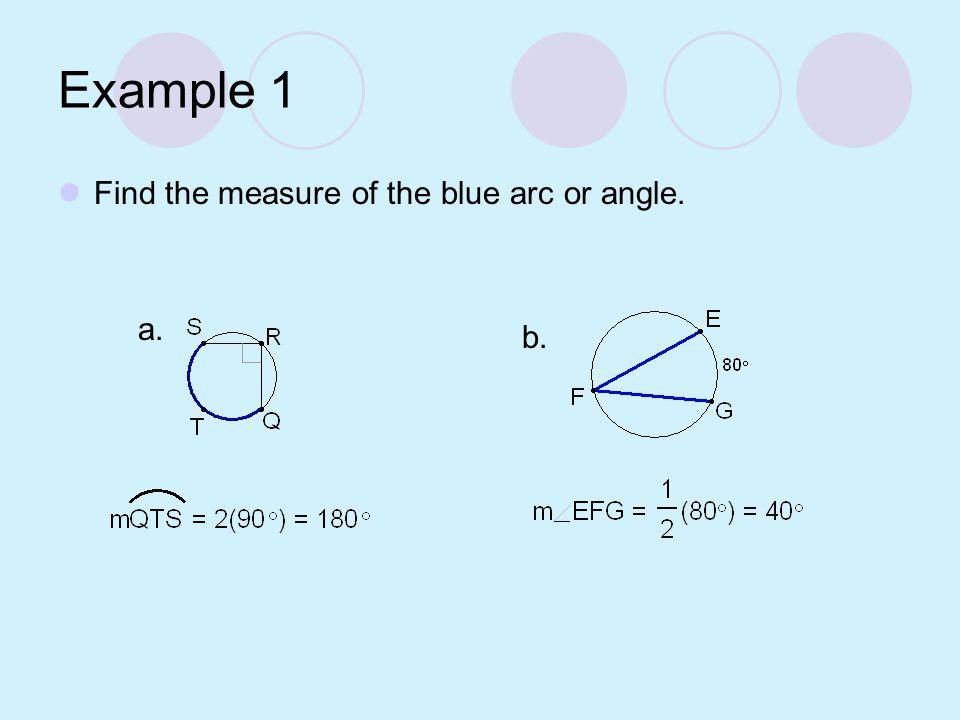 Example 1 Find the measure of the blue arc or angle. a. b.