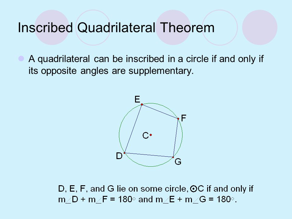 Inscribed Quadrilateral Theorem