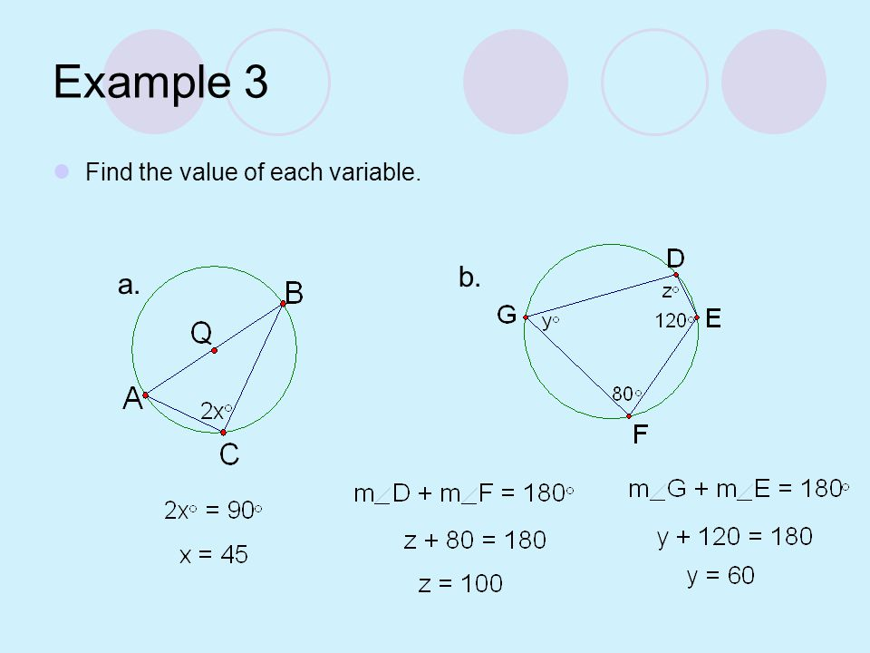 Example 3 Find the value of each variable. b. a.