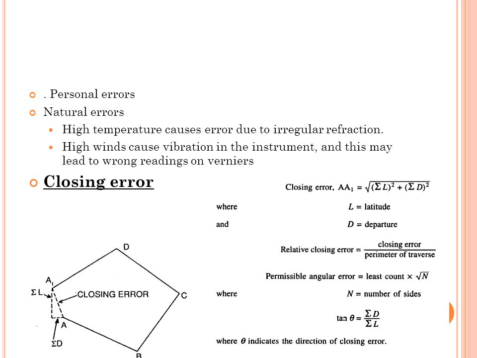 Closing error . Personal errors Natural errors