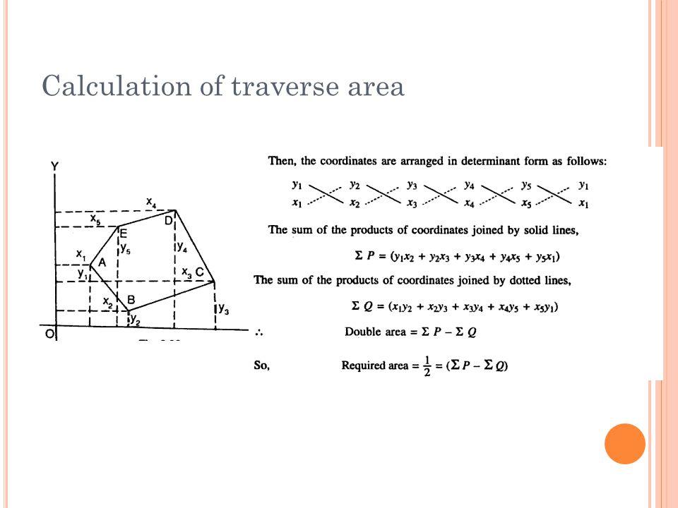 Calculation of traverse area
