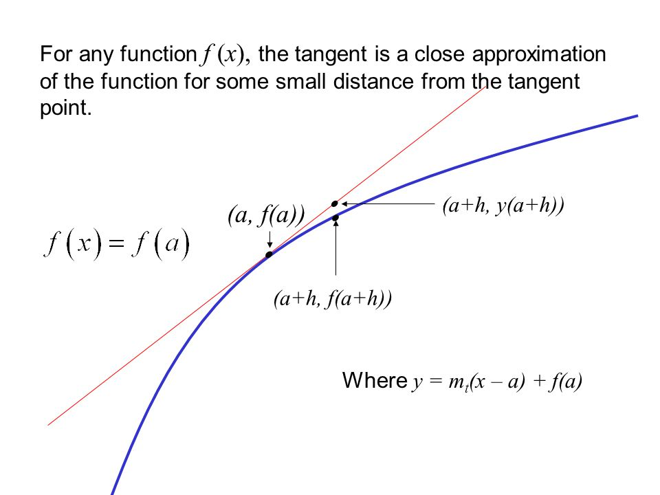 For any function f (x), the tangent is a close approximation of the function for some small distance from the tangent point.