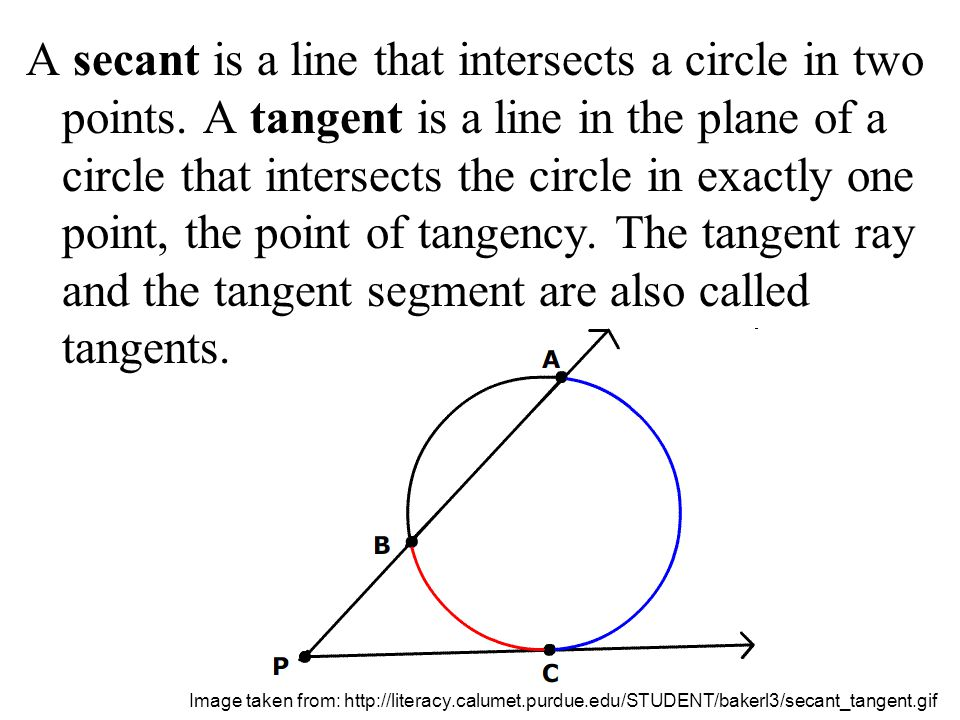 A secant is a line that intersects a circle in two points