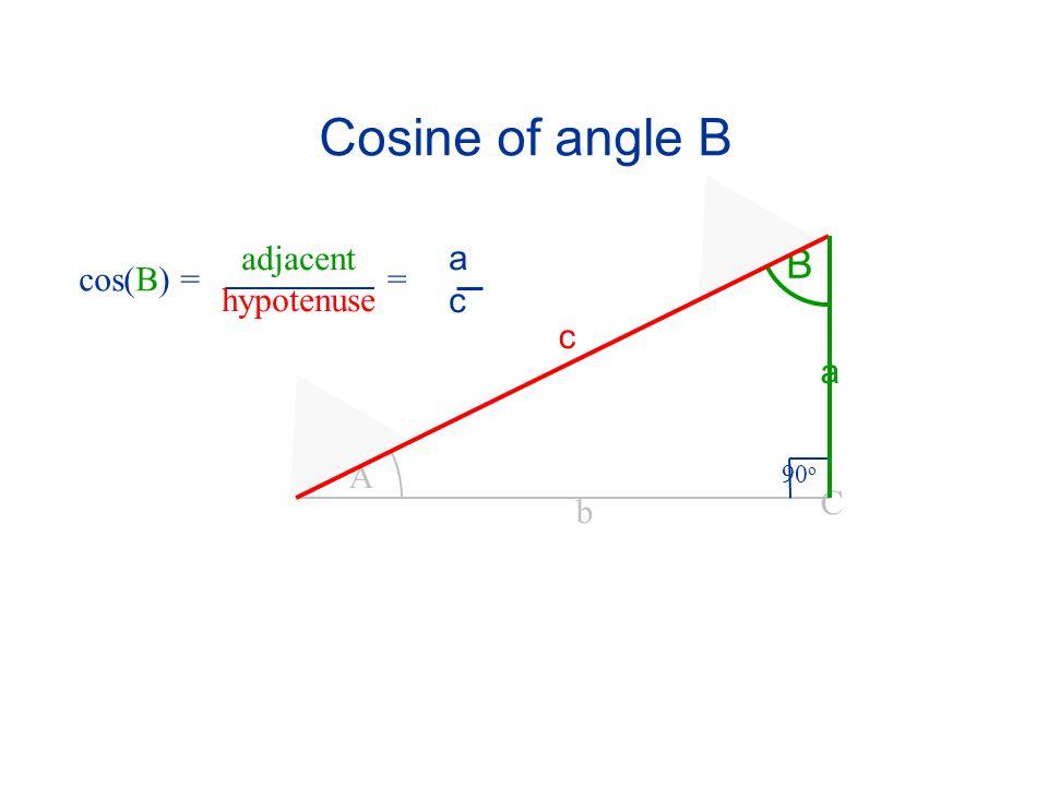 Cosine of angle B adjacent hypotenuse a c B cos(B) = = c a A 90o C b