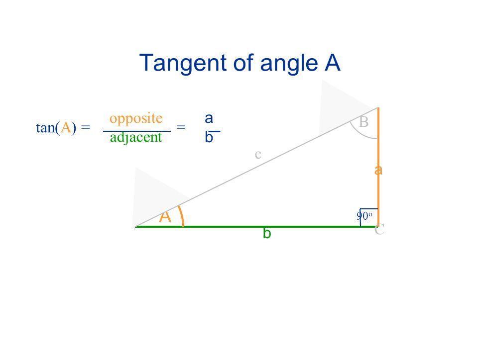 Tangent of angle A opposite adjacent a b B tan(A) = = c a A 90o C b