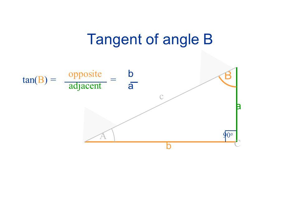 Tangent of angle B opposite adjacent b a B tan(B) = = c a A 90o C b