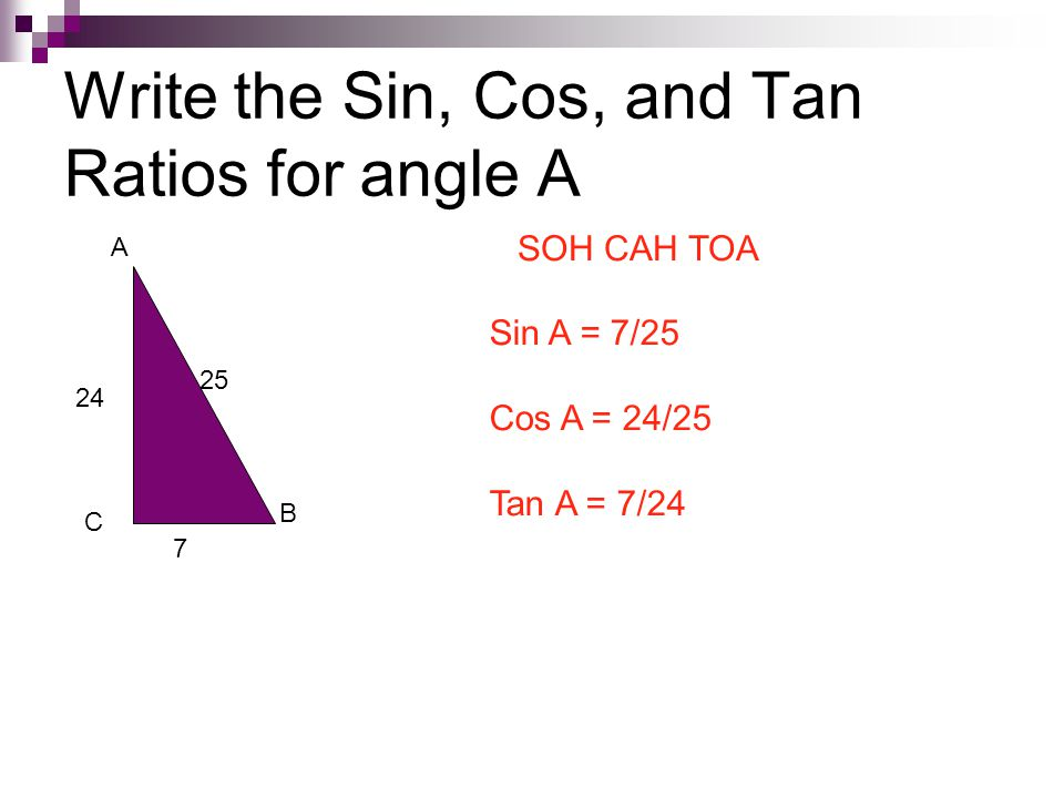 Write the Sin, Cos, and Tan Ratios for angle A