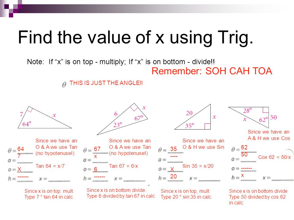 Find the value of x using Trig.