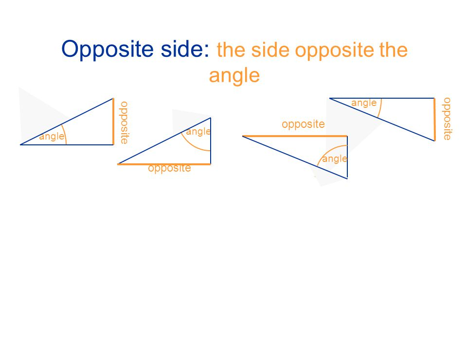 Opposite side: the side opposite the angle